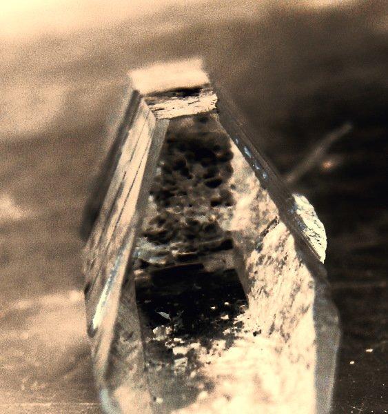macro sepia image of a quartz crystal